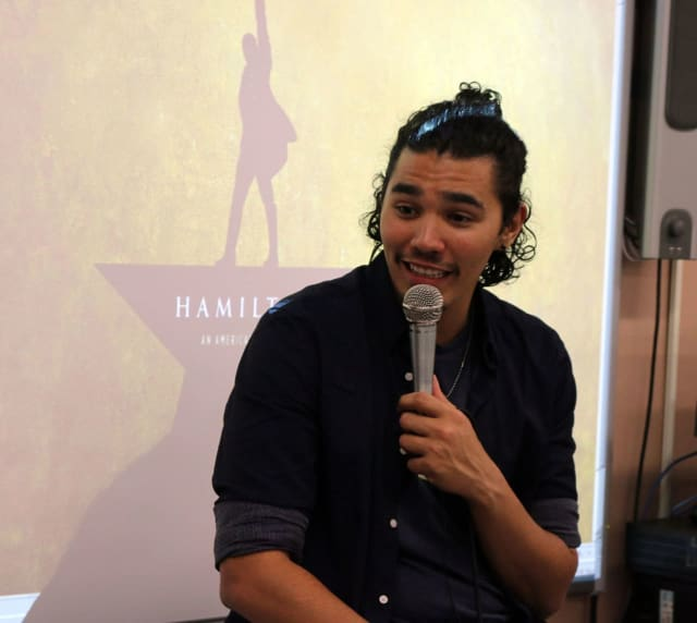 "Anthony Lee Medina, who will appear on Broadway next month in the wildly popular musical ""Hamilton,"" speaks to theater students at Walter Panas High School. He advised them to find their own paths, yet never to forget where they started from."