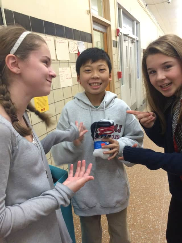 Benjamin Franklin Middle School students collected more than 3,000 pairs of socks in the Rock Your Socks challenge.