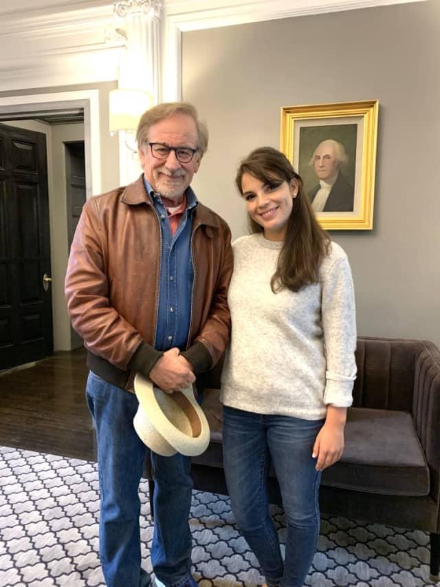 Steven Spielberg with George employee Ariana Pakizegi.