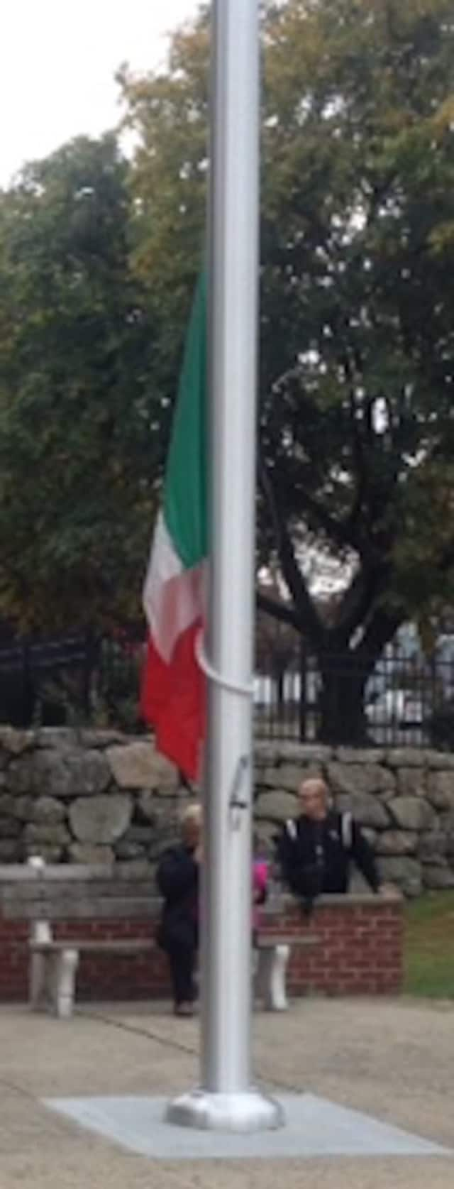 The raising of the Italian flag is a traditional feature of many Columbus Day celebrations.