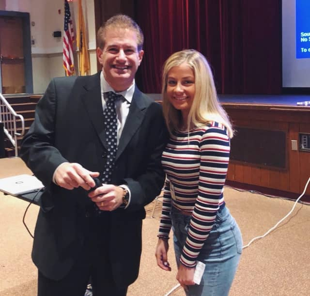 Julia Stuart of Mahwah with fellow MADD advocate Steven Benvenisti. The pair spoke together at Livingston High School earlier this month.