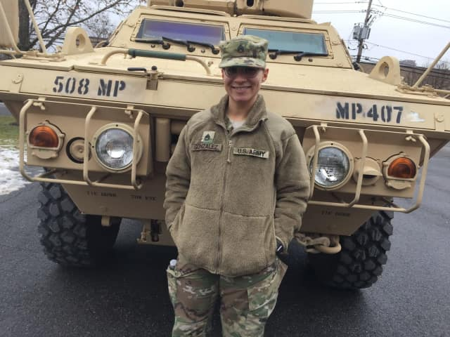 Sasha Gonzalez is a chemical specialist in the U.S. Army National Guard who works at the Teaneck Armory.