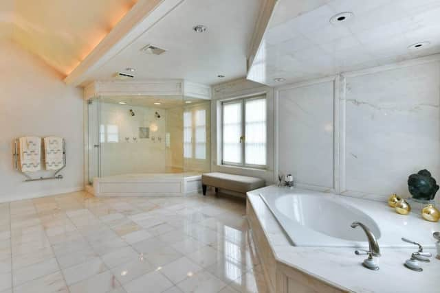 This is just one of the many bathrooms in an Alpine house for sale.