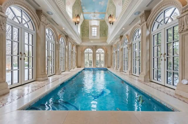 This Roberts Road mansion in Englewood Cliffs boast an indoor lap pool.