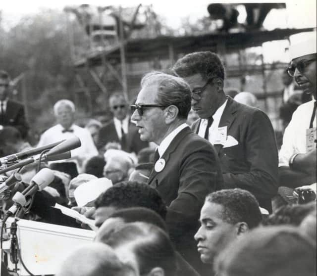 Rabbi Joachim Prinz speaking at the historic March on Washington for Jobs and Freedom in 1963.
