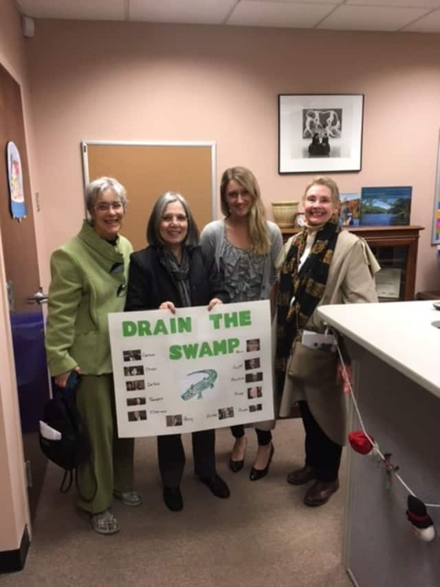 From left: Wendy Porterfield, Marianna Stout, Sen. Charles Schumer's deputy regional director, Megan Glander; and Carol Ryan. The Stouts and Porterfield are members of CD17Indivisible, a group worried about President Donald J. Trump's Cabinet picks.