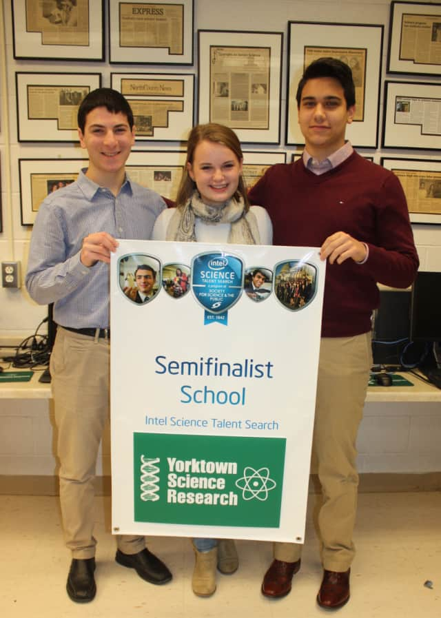 Three Yorktown High School science research students, Andrew Levin, Cayla Hamann, and Andrew Amini, have been selected as National Intel Science Talent Search semifinalists.