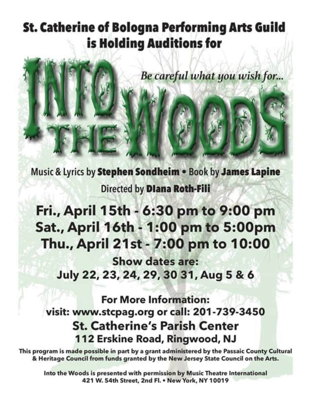"""St. Catherine of Bologna Performing Arts Guild in Ringwood is holding auditions for its upcoming production of """"Into the Woods."""""""