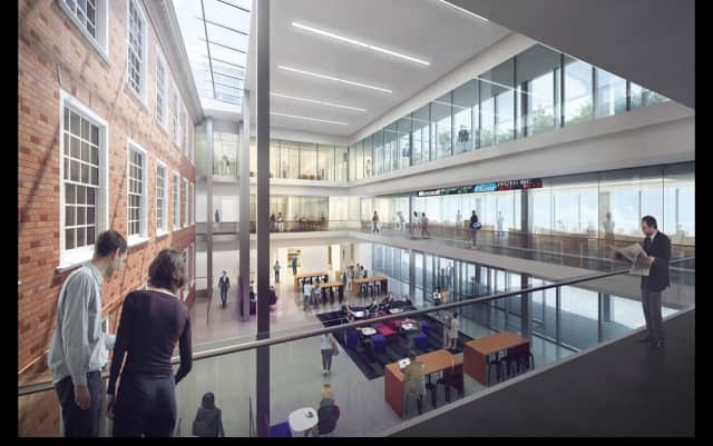 The Grand Hall at Iona's new business school will provide a venue for large gatherings at the New Rochelle college. The glass atrium will enclose the present Hagan Hall.
