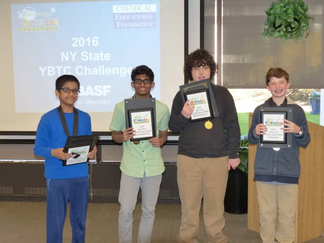 Henry Demarest of Irvington Middle School (far right) won the state You Be The Chemist Challenge recently.