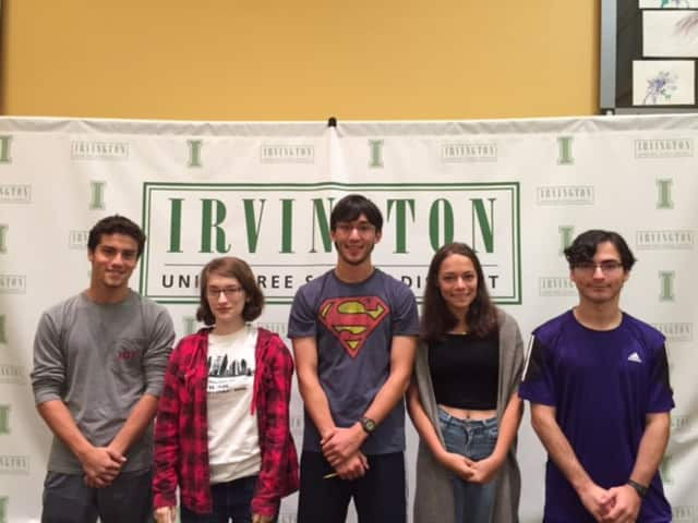 Semifinalists (from left): Evan Pickar, Clara Montgomery, Ryan Meng-Killeen, Zoe Mermelstein and Max Kerner have qualified as semifinalists in the 2017 National Merit Scholarship Program.
