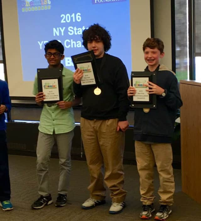 Irvington Middle School students Rishit Gupta, Zachary Rosman and Henry Demarest were named top chemists in the state. Seventh-grader Demarest won first place, while eighth-graders Gupta and Rosman were named runner-up and second runner-up.