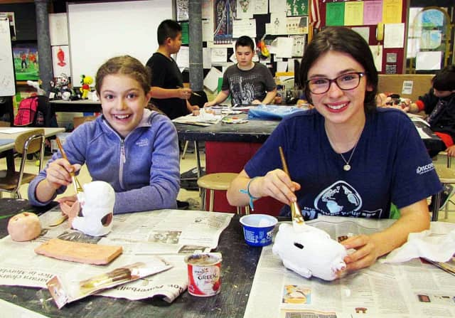 Irvington sixth-graders created sculptures as part of a 3-D design lesson.