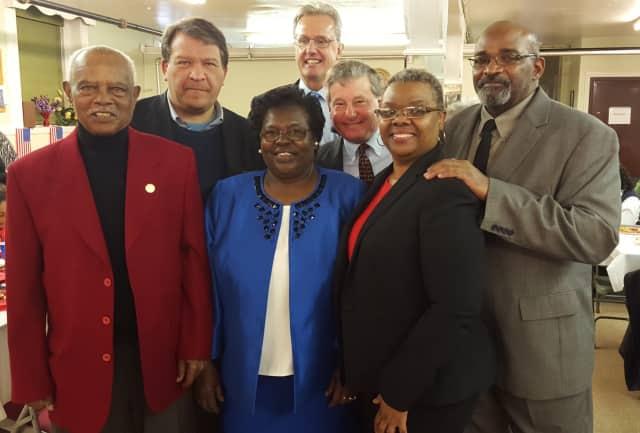Photographed at the luncheon are John Reavis, Rye NAACP interim president; state Sen. George Latimer; event organizer, Martha Bell, Joe Carvin; Assemblyman Steve Otis; the Rev. Natalie Wimberly, pastor of St. Frances; and David Thomas.