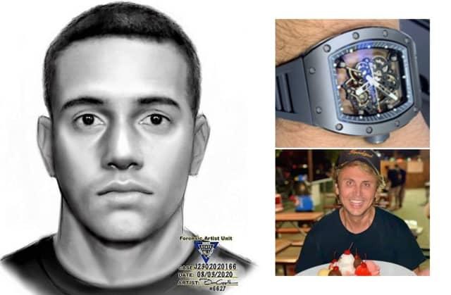 """CLOCKWISE: NJSP sketch of the robber / the stolen watch / """"Foodgod"""""""