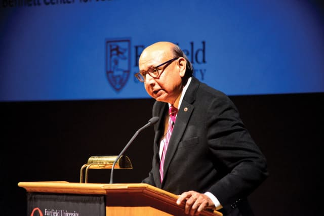 Khizr Khan speaking at Fairfield University. Photograph courtesy Fairfield University.
