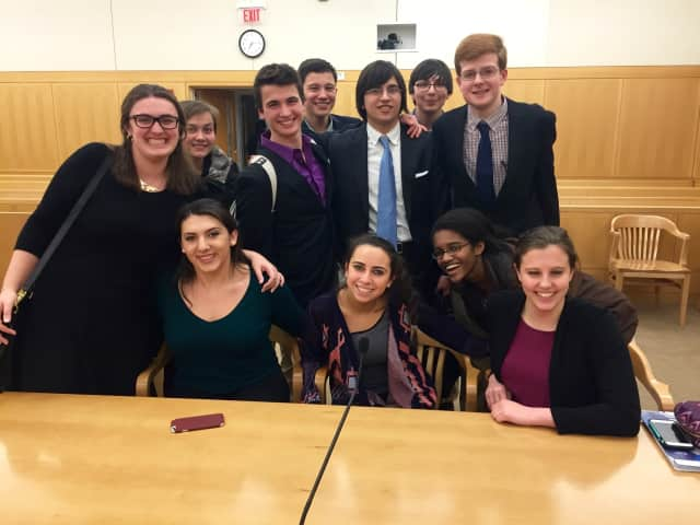 John Jay High School's mock trial team, from left, Katie Ricca, Sasha Suser, Francheska Kola, Justin Gelwicks, Sam Hinkley, Jennie Sokol, Giovanni Wolfram, Tobias Beattie, Ashley Ramsay, Will Palmieri and Marisa Tagliaferro.