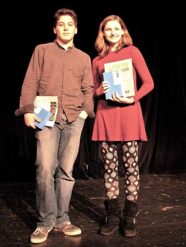 John Jay High School junior Jessica Moss, right, won the school's Poetry Out Loud contest. Isaiah Blum, left, was the runner-up.