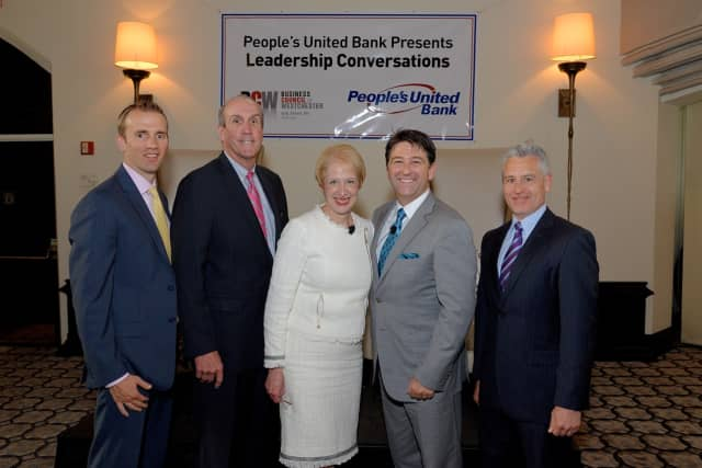 From left, Joseph McCoy, region manager of commercial lending at People's United Bank; Deputy County Executive Kevin Plunkett; Business Council President and CEO Marsha Gordon; Million Air President/CEO Roger Woolsey and BCW Chairman Anthony Justic.
