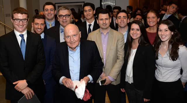 Jack Welch, former CEO of General Electric, meets with students from the College of Business at Sacred Heart University in Fairfield.