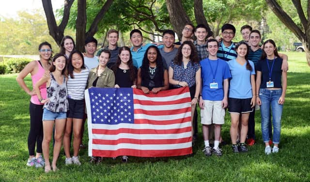 Jacob Aaronson and 19 other Americans spent four weeks at the Weizmann Institute of Science this summer. Aaronson is in the front row, third from the right.
