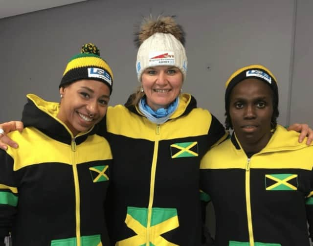 Jazmine Fenlator-Victorian, left, and her teammates made history by qualifying for the 2018 Winter Olympics.