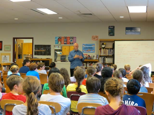 """James Howe, author of """"The Misfts,"""" spoke with Briarcliff Middle School seventh-graders."""