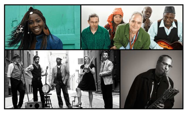 White Plains' annual Jazz Festival's featured artists include, clockwise from top left: Awa Sango, Source International African Jazz Band, Gary Smulyan and Baby Soda.