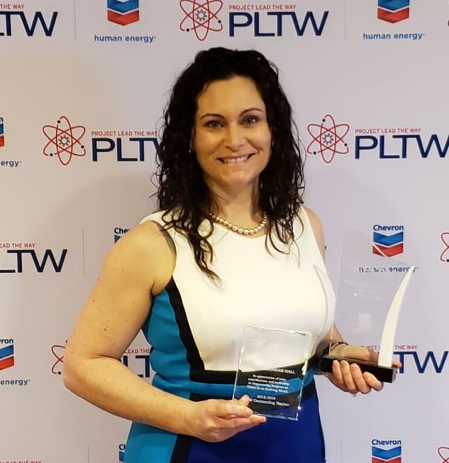 Jeanine Hall, recipient of PLTW's Biomedical Teacher of the Year