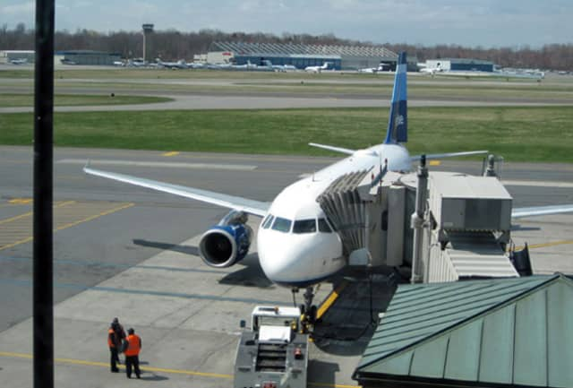A Jet Blue flight at Westchester County Airport was delayed after baggage handlers noticed a white, powdery substance.