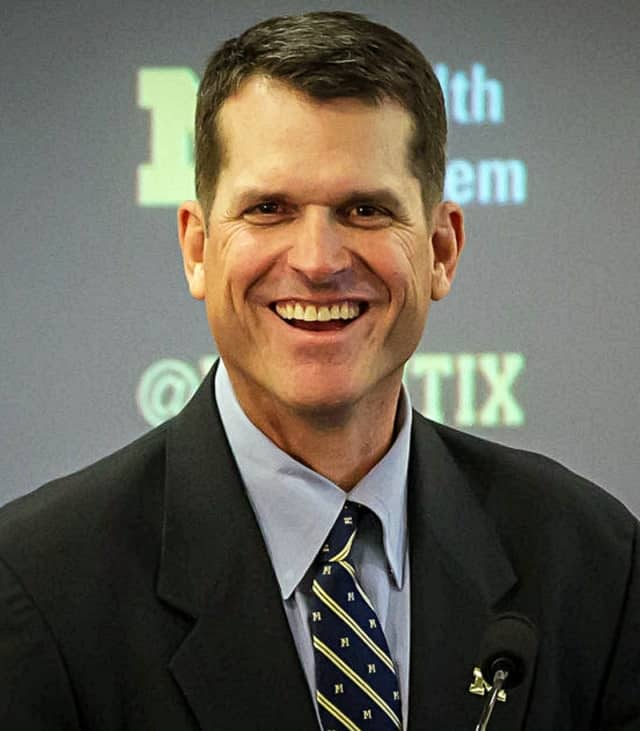 Jim Harbaugh is a former NFL quarterback and coach of the San Francisco 49ers. Now at the University of Michigan, he coaches former Paramus Catholic standout Jabrill Peppers.