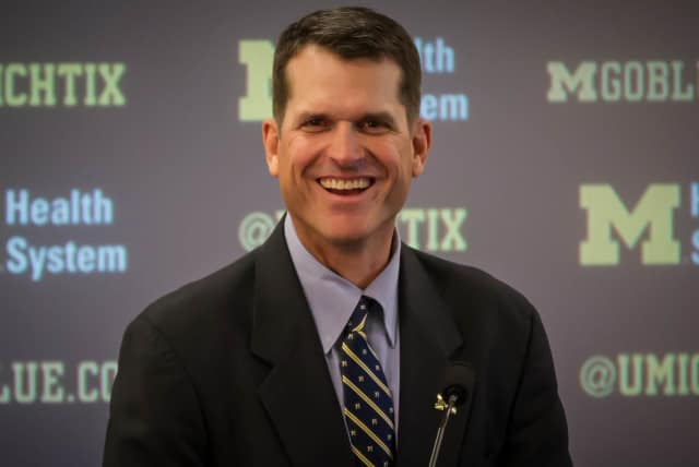 Jim Harbaugh is a former NFL quarterback and coach of the San Francisco 49ers. Now at the University of Michigan, he coaches former Paramus Catholic standout Jabrill Peppers