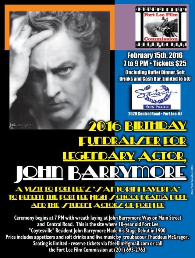 The John Barrymore birthday fundraiser will be Feb. 15