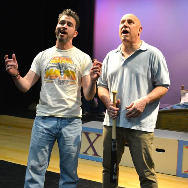 """Juan Londoño and Peter Green in the production of """"Baby"""" at the Darien Arts Center."""