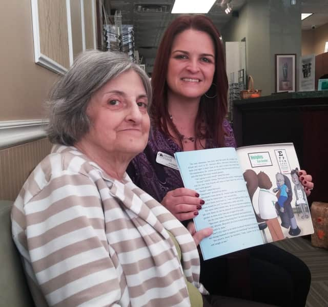 """Author June Phyllis Baker (left) with Andrea Gaffney, licensed optician, will celebrate Baker's first children's book, """"See-more's Big Adventure"""" at a book signing at Heights Eye Center."""