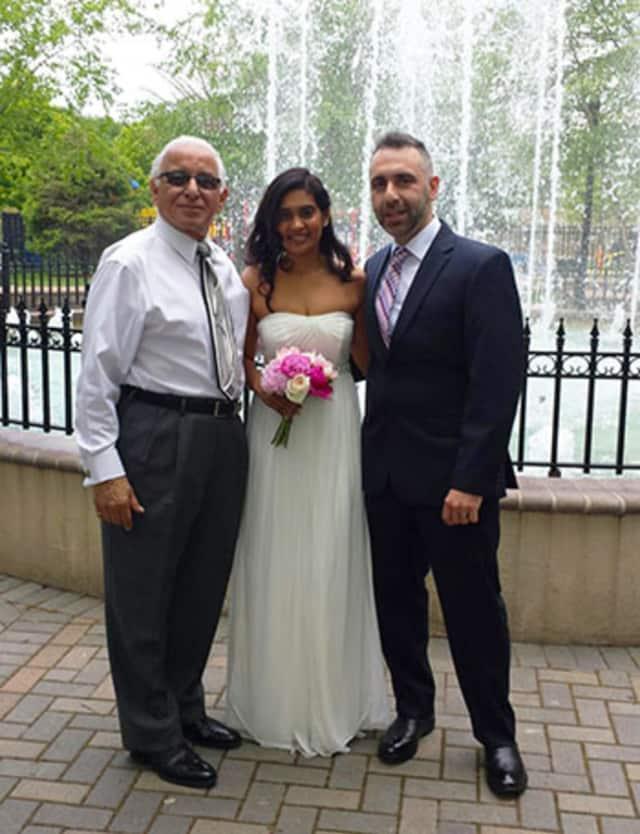 Mayor Giangeruso, Reesha Latchman and Daniel Neshanian
