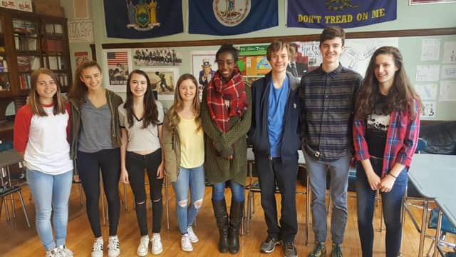 The Junior Class Book Award Honorees, from left, Emma Jacobs, Janey Litvin, Anna Heubert-Aubry, Samantha Blasetti, Miranda Edwards, Brian Filipek, Jackson Cadenhead, Anya Flood-Taylor.