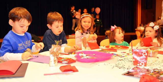 Children of Junior League of Bronxville's members recently created Valentine's Day cards for seniors.