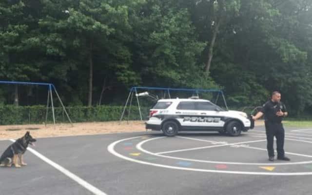A Ramapo police officer at Viola Elementary School.