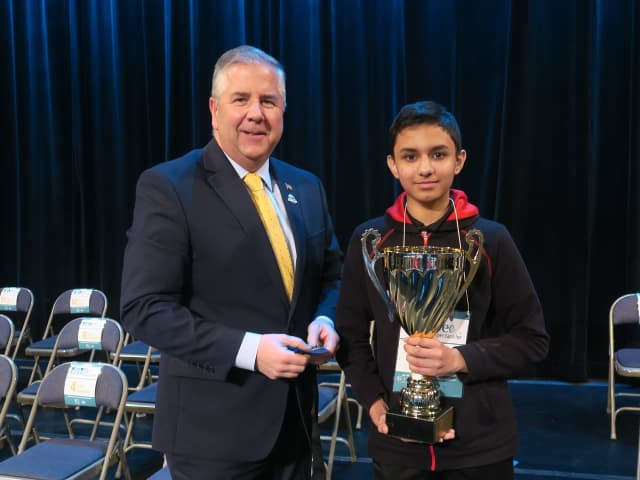 Aritra Banerjee, a seventh grader at Bridgewater-Raritan Regional Middle School, with Somerset County Freeholder Brian Gallagher.