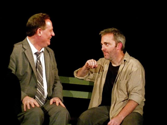 """Keith Teller plays Peter and Michael Rhodes plays Jerry, in Tangent's 2011 main-stage production of """"The Zoo Story."""""""