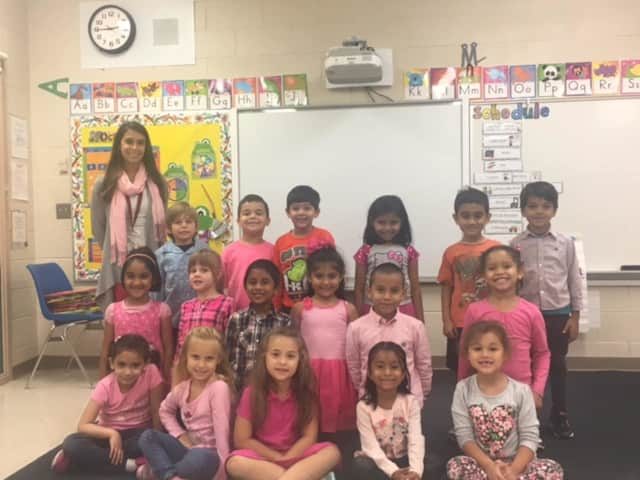 Miss Meli's kindergarten class goes pink in support of breast cancer awareness month.