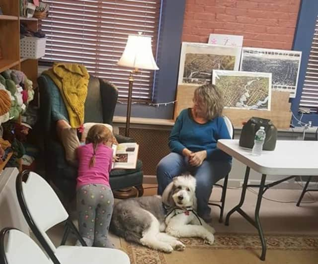"""Ollie, a certified therapy dog, and his """"mom,"""" Carol Kirby, listen while a child taking part in the B.A.R.K. program reads aloud from a book at the Written Words Bookstore in Shelton."""