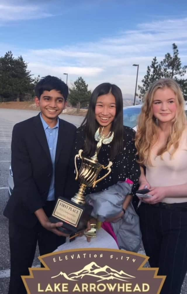 Horace Greeley's Krishna Ramaswamy, Dorothy Low and Claire Weis -- who recently won the Parliamentary Debate Program Championship, a national competition in California.