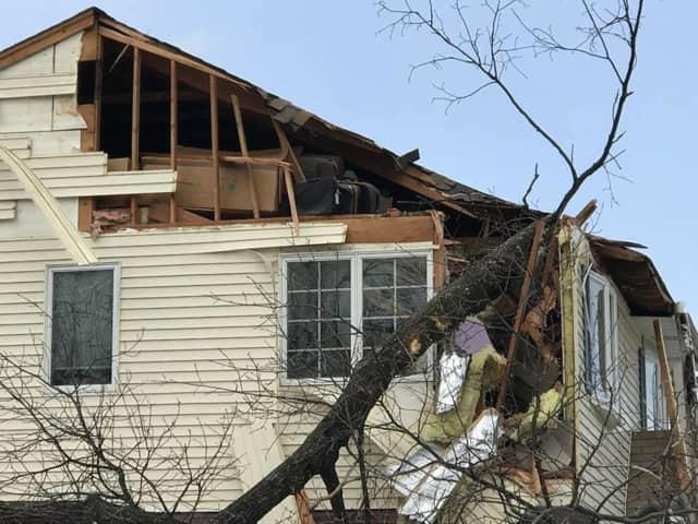 High winds knocked a tree into a Saddle Brook house last week.