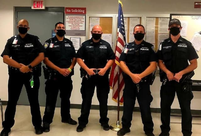 (left to right): Port Authority Police Officers Oliver Ramclam, Richard McCarthy, Tim Feeney, John Gimigliano, Dan Novelli