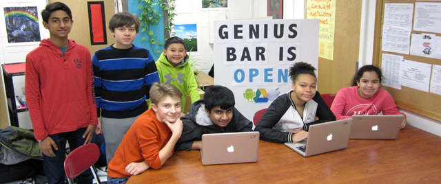 The Louis M. Klein Middle School Genius Bar is currently open before school at 7:30 a.m. on Monday, Wednesday and Friday.
