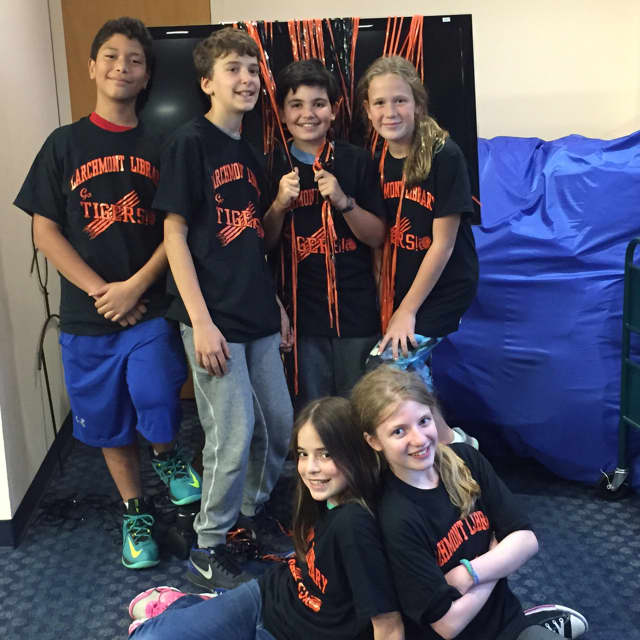 'Battle of the Books' semifinalists from Larchmont, front row: Sophie Thorpe and Maria Haralampopoulos. Back Row (from L to R): Zechariah Ramos, Mark Yukelis, Daniel Karn and Mimi Lee