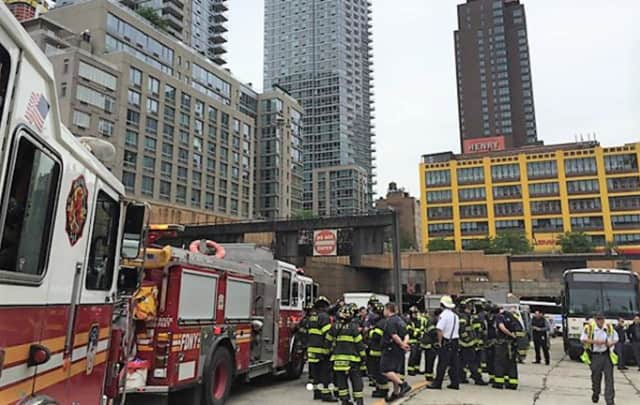 City firefighters handled triage after the buses emerged on the Manhattan said.