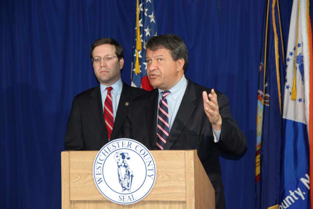 State Assemblyman David Buchwald, left, with County Executive George Latimer.